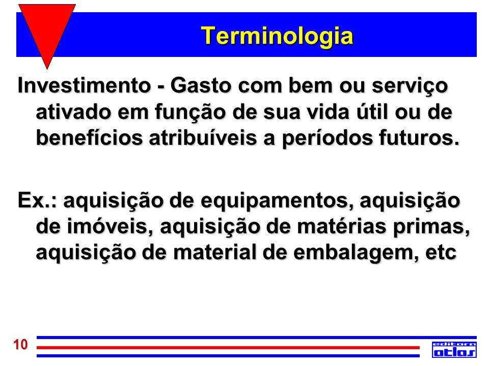 Terminologia Investimento - Gasto com bem ou serviço ativado em função de sua vida útil ou de benefícios atribuíveis a períodos futuros.