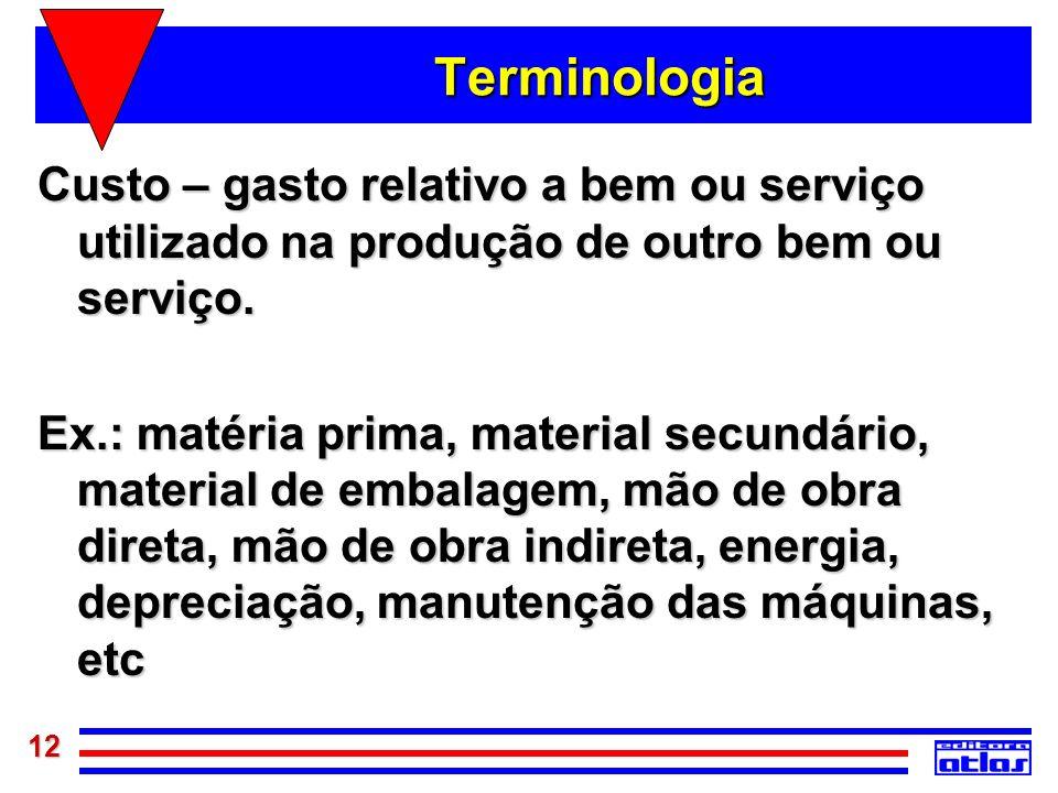 Terminologia Custo – gasto relativo a bem ou serviço utilizado na produção de outro bem ou serviço.