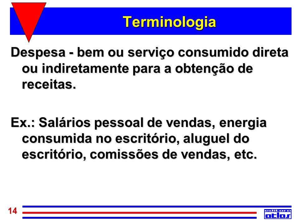 Terminologia Despesa - bem ou serviço consumido direta ou indiretamente para a obtenção de receitas.