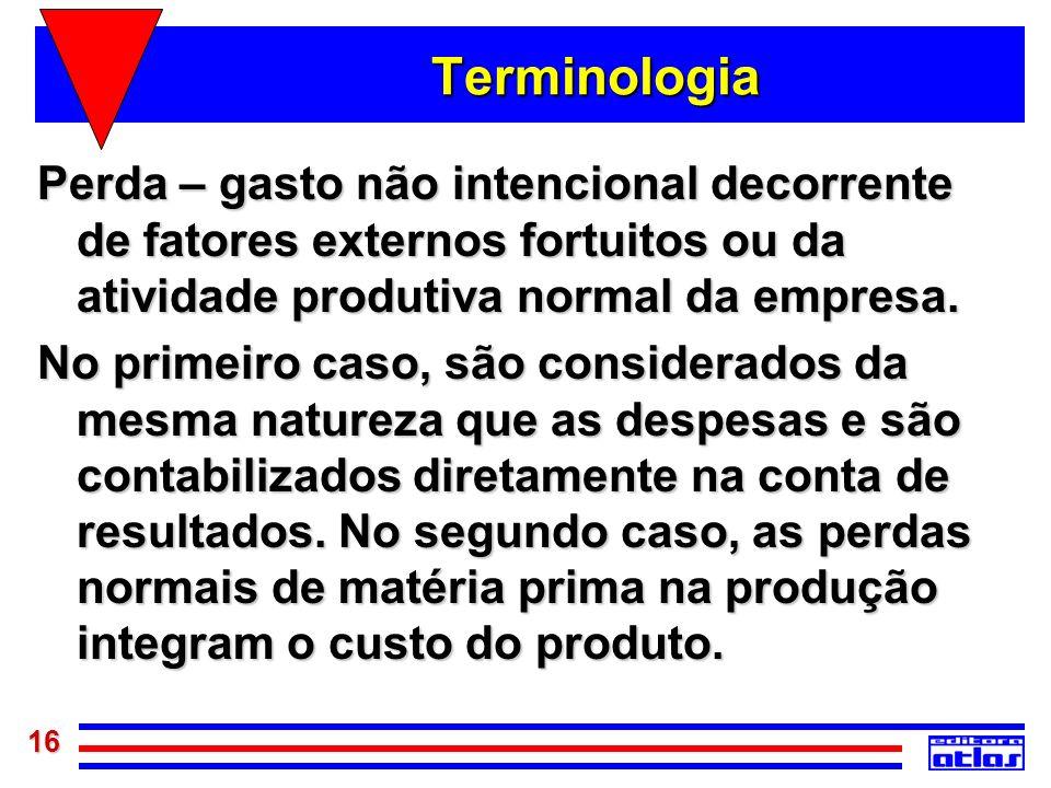 Terminologia Perda – gasto não intencional decorrente de fatores externos fortuitos ou da atividade produtiva normal da empresa.