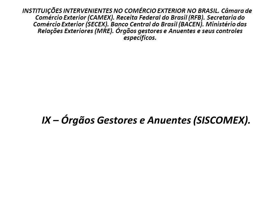 IX – Órgãos Gestores e Anuentes (SISCOMEX).