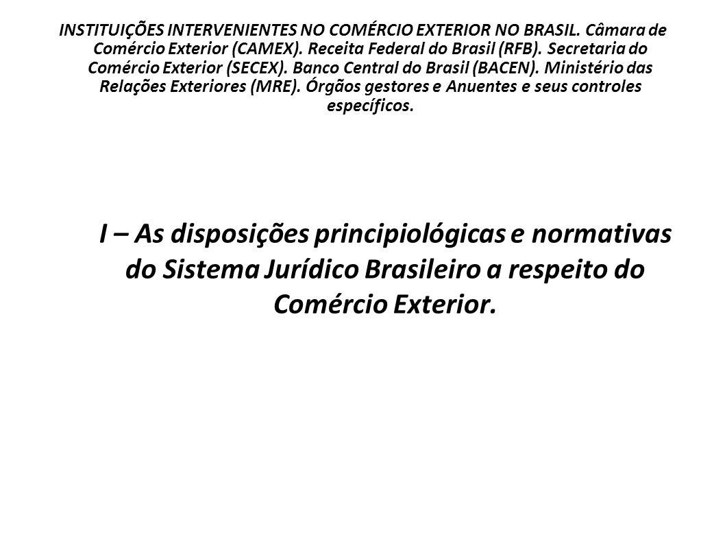 INSTITUIÇÕES INTERVENIENTES NO COMÉRCIO EXTERIOR NO BRASIL