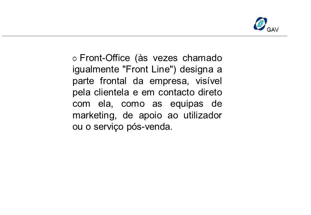 O Front-Office (às vezes chamado igualmente Front Line ) designa a parte frontal da empresa, visível pela clientela e em contacto direto com ela, como as equipas de marketing, de apoio ao utilizador ou o serviço pós-venda.