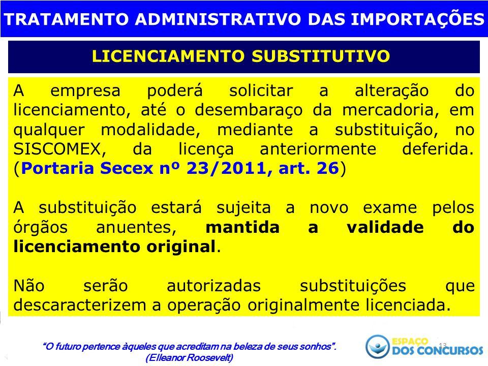 TRATAMENTO ADMINISTRATIVO DAS IMPORTAÇÕES LICENCIAMENTO SUBSTITUTIVO