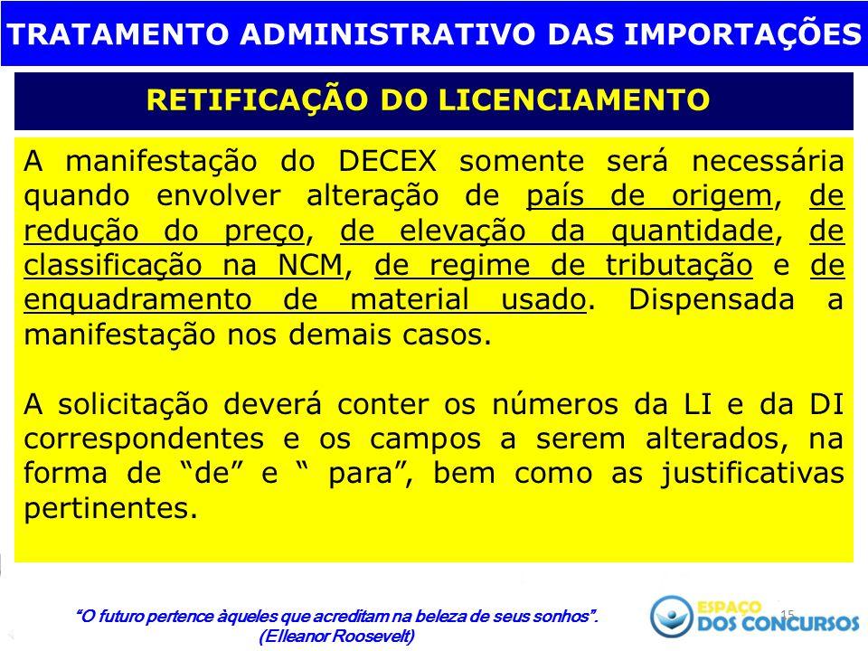 TRATAMENTO ADMINISTRATIVO DAS IMPORTAÇÕES RETIFICAÇÃO DO LICENCIAMENTO