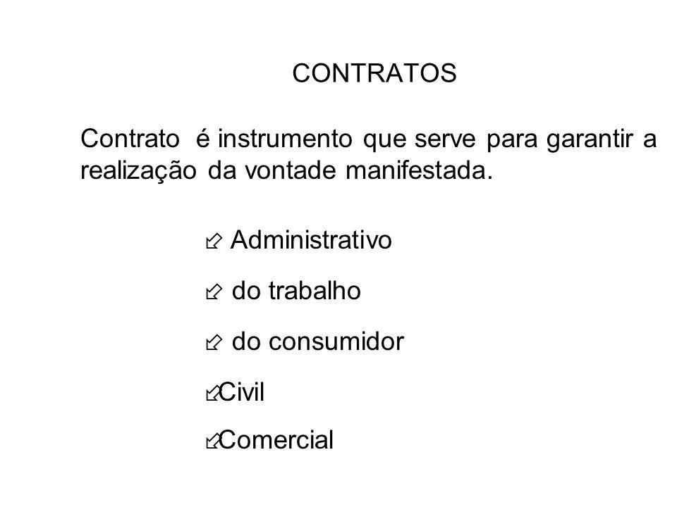 CONTRATOS Contrato é instrumento que serve para garantir a realização da vontade manifestada.  Administrativo.