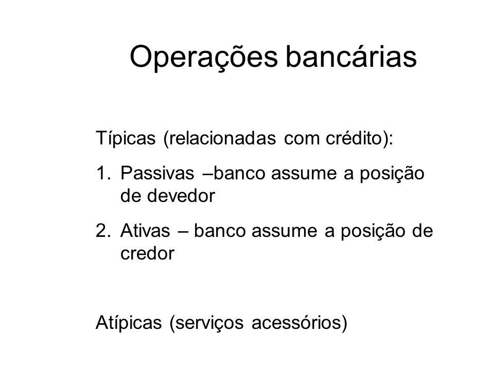 Operações bancárias Típicas (relacionadas com crédito):