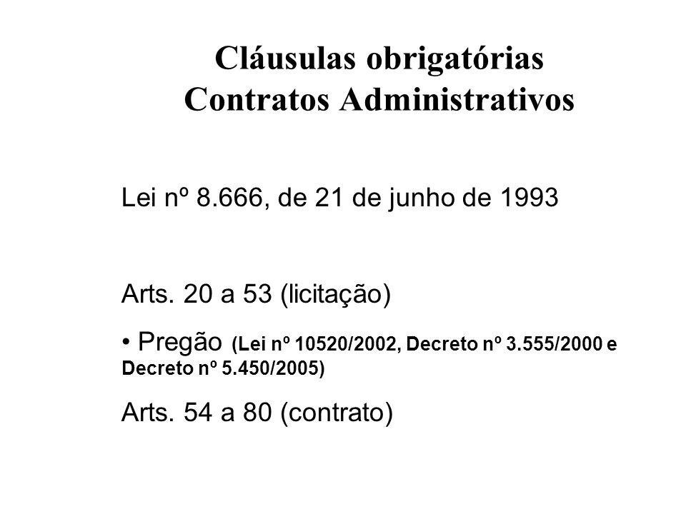 Cláusulas obrigatórias Contratos Administrativos