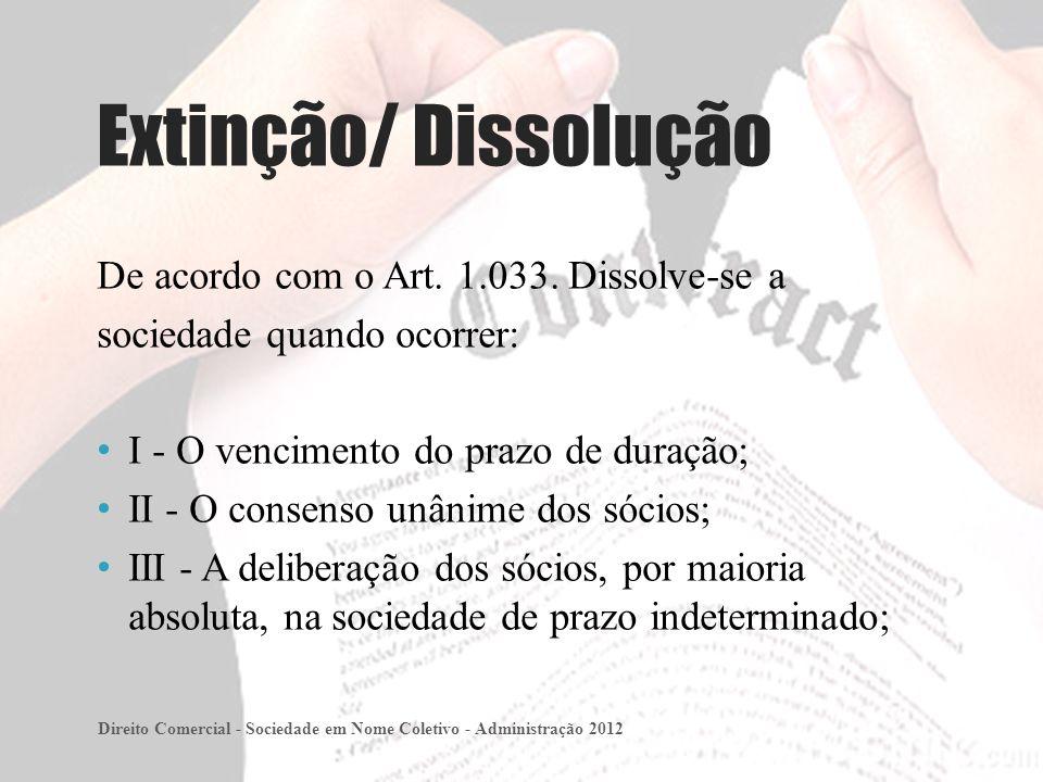 Extinção/ Dissolução De acordo com o Art. 1.033. Dissolve-se a