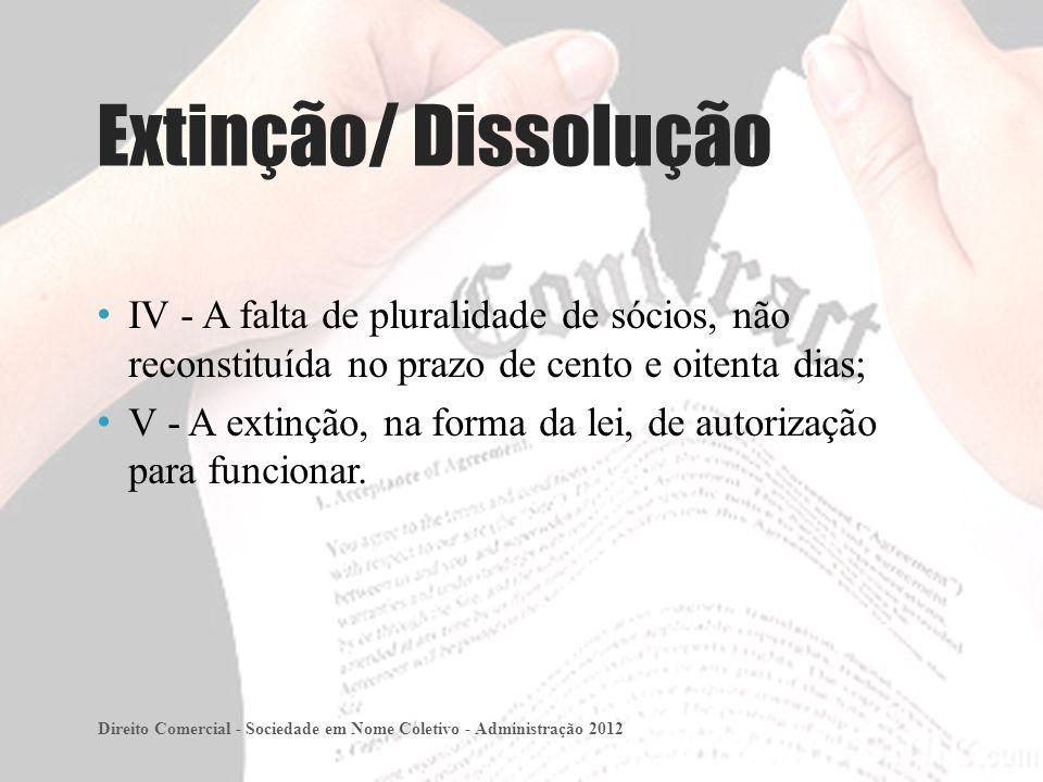 Extinção/ Dissolução IV - A falta de pluralidade de sócios, não reconstituída no prazo de cento e oitenta dias;