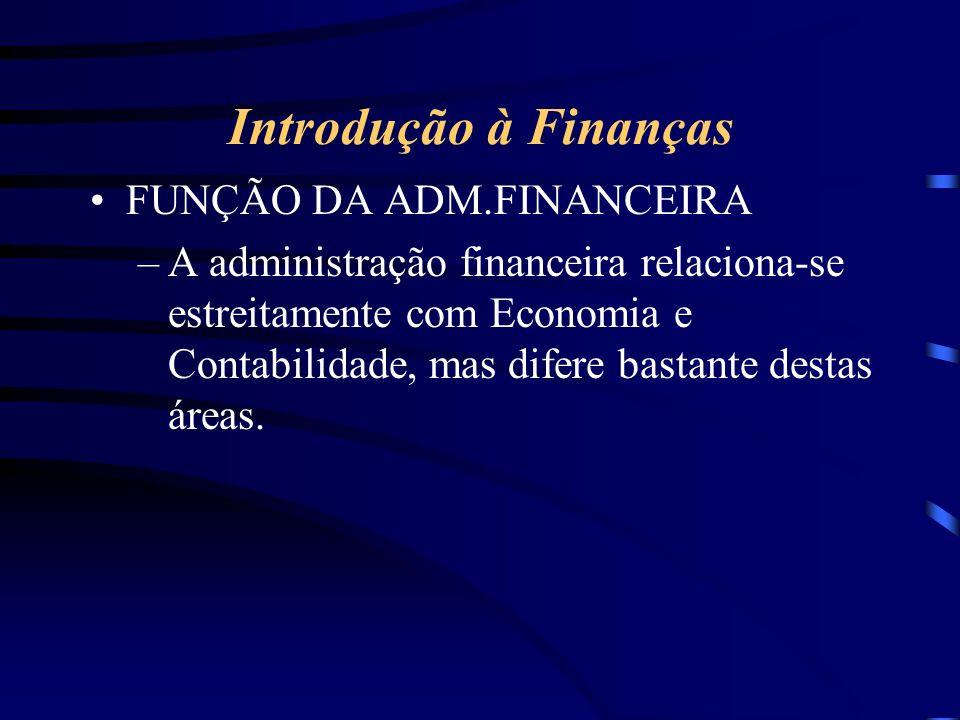 Introdução à Finanças FUNÇÃO DA ADM.FINANCEIRA