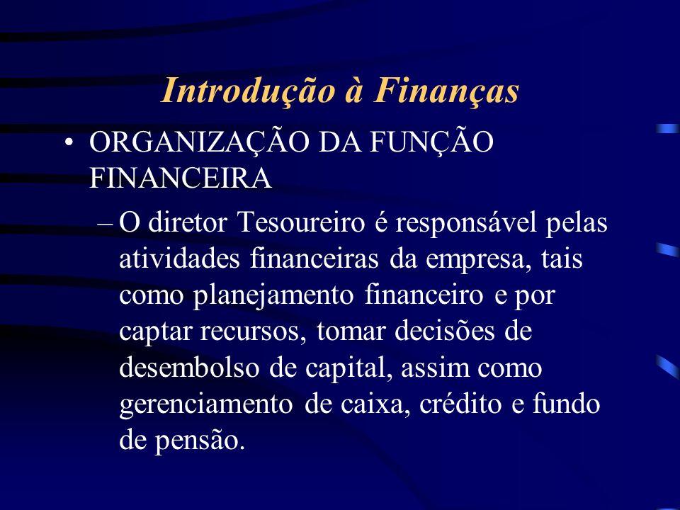 Introdução à Finanças ORGANIZAÇÃO DA FUNÇÃO FINANCEIRA