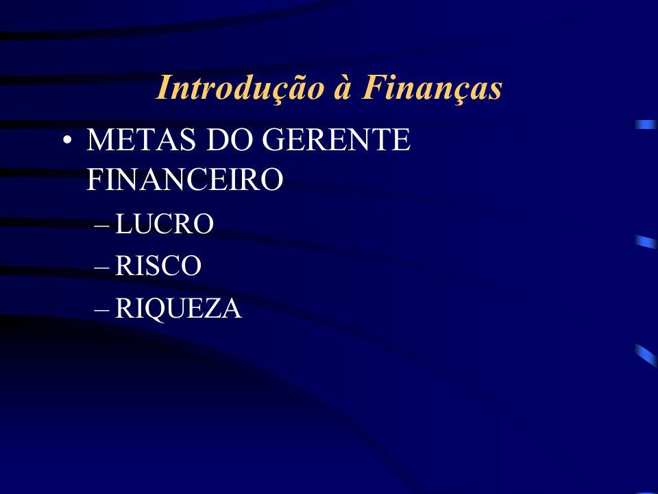 Introdução à Finanças METAS DO GERENTE FINANCEIRO LUCRO RISCO RIQUEZA
