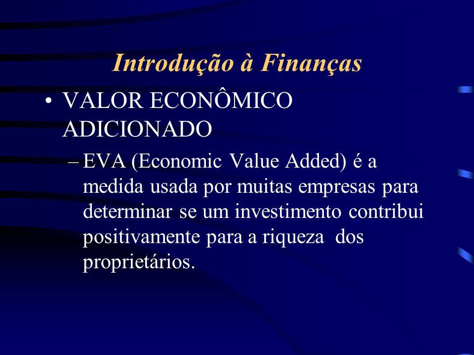 Introdução à Finanças VALOR ECONÔMICO ADICIONADO