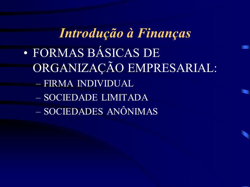 Introdução à Finanças FORMAS BÁSICAS DE ORGANIZAÇÃO EMPRESARIAL: