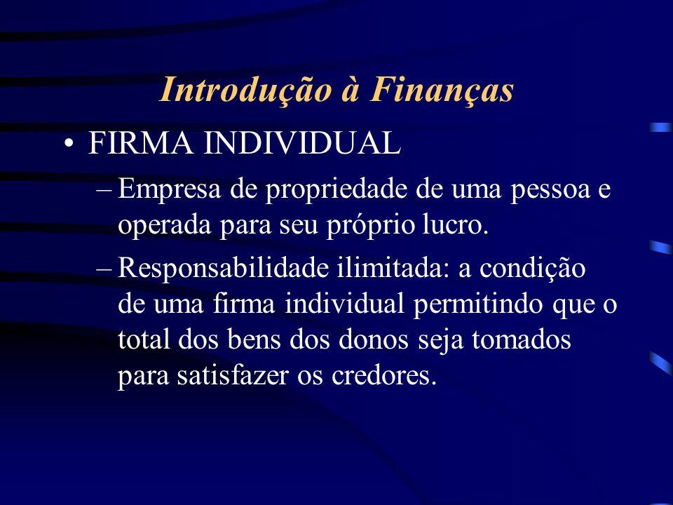 Introdução à Finanças FIRMA INDIVIDUAL