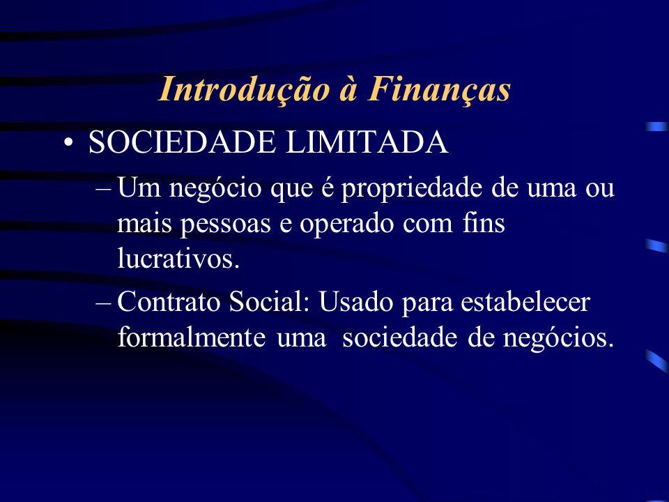 Introdução à Finanças SOCIEDADE LIMITADA