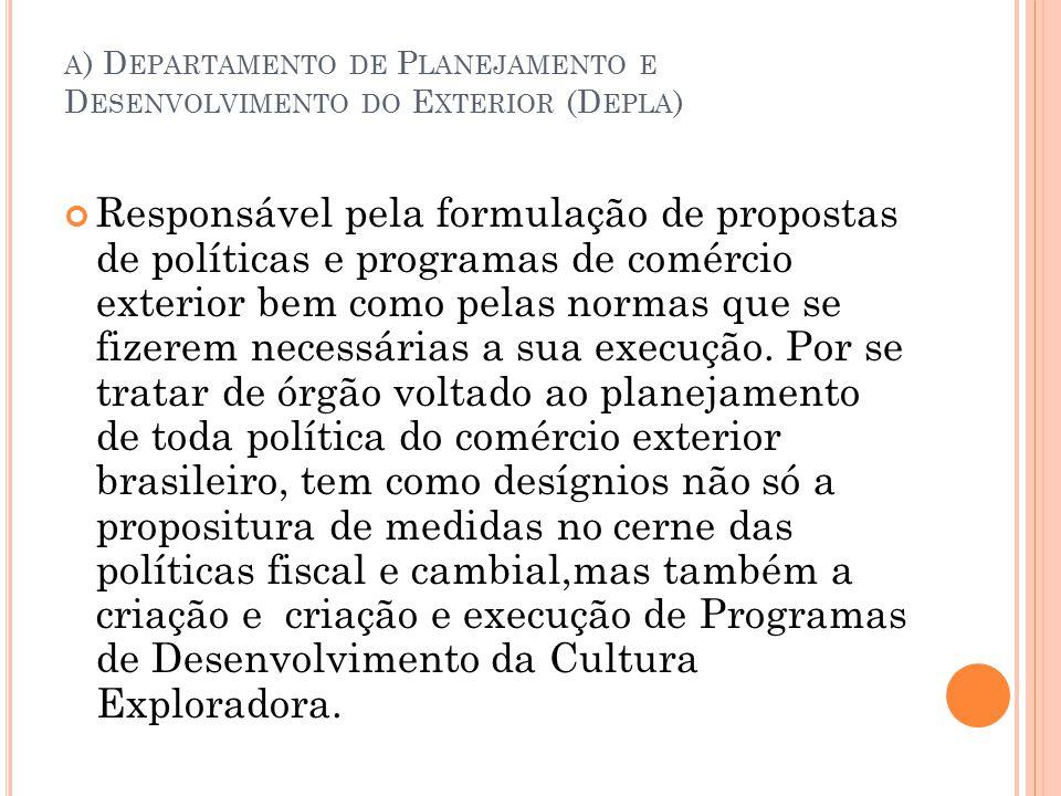 a) Departamento de Planejamento e Desenvolvimento do Exterior (Depla)