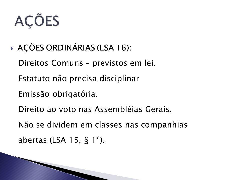 AÇÕES AÇÕES ORDINÁRIAS (LSA 16): Direitos Comuns – previstos em lei.