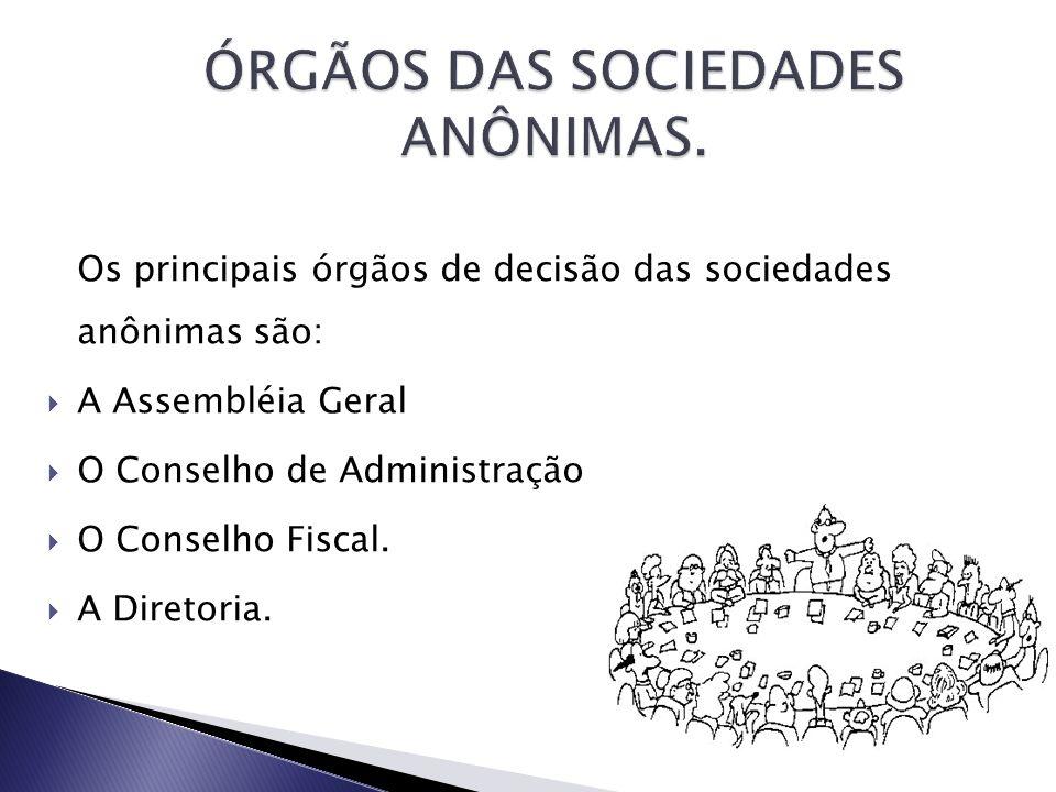 ÓRGÃOS DAS SOCIEDADES ANÔNIMAS.