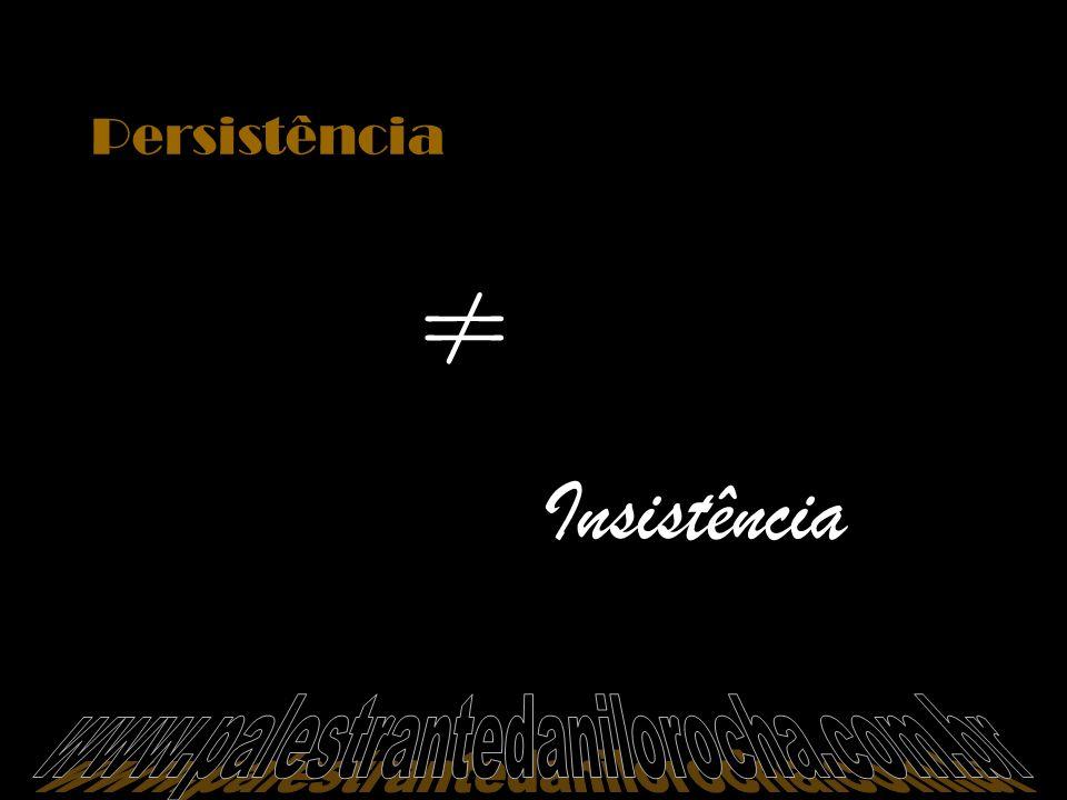 Persistência ≠ Insistência www.palestrantedanilorocha.com.br