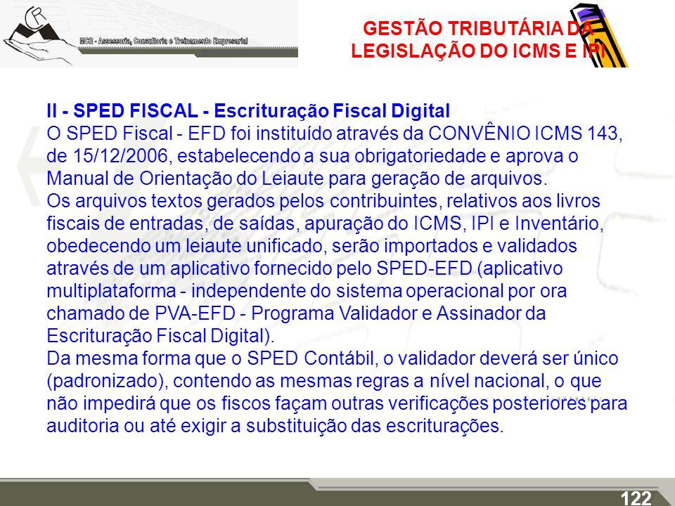 GESTÃO TRIBUTÁRIA DA LEGISLAÇÃO DO ICMS E IPI