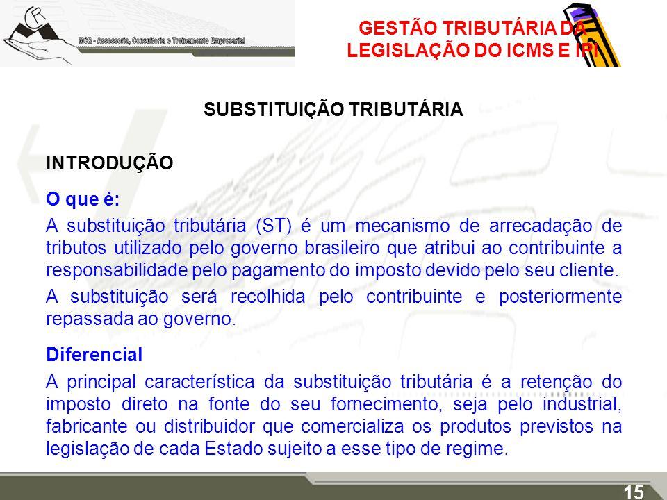 GESTÃO TRIBUTÁRIA DA LEGISLAÇÃO DO ICMS E IPI SUBSTITUIÇÃO TRIBUTÁRIA