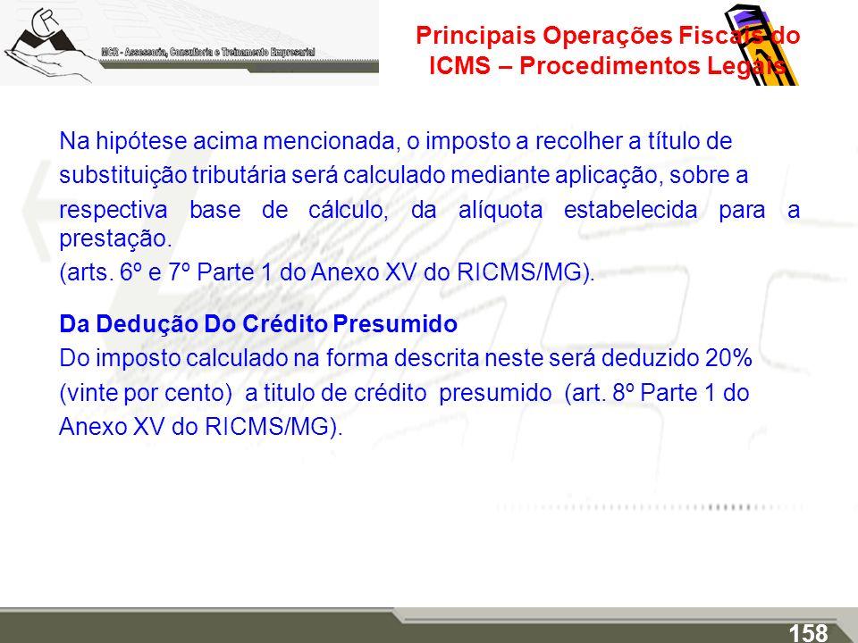 Principais Operações Fiscais do ICMS – Procedimentos Legais