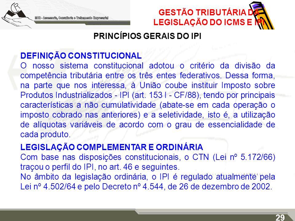 GESTÃO TRIBUTÁRIA DA LEGISLAÇÃO DO ICMS E IPI PRINCÍPIOS GERAIS DO IPI