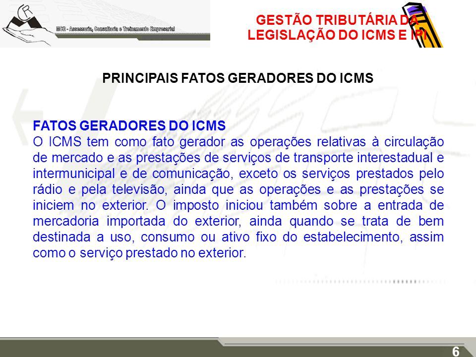 PRINCIPAIS FATOS GERADORES DO ICMS