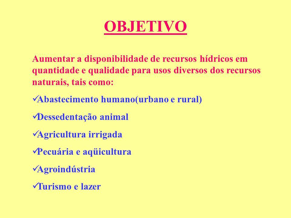 OBJETIVO Aumentar a disponibilidade de recursos hídricos em quantidade e qualidade para usos diversos dos recursos naturais, tais como:
