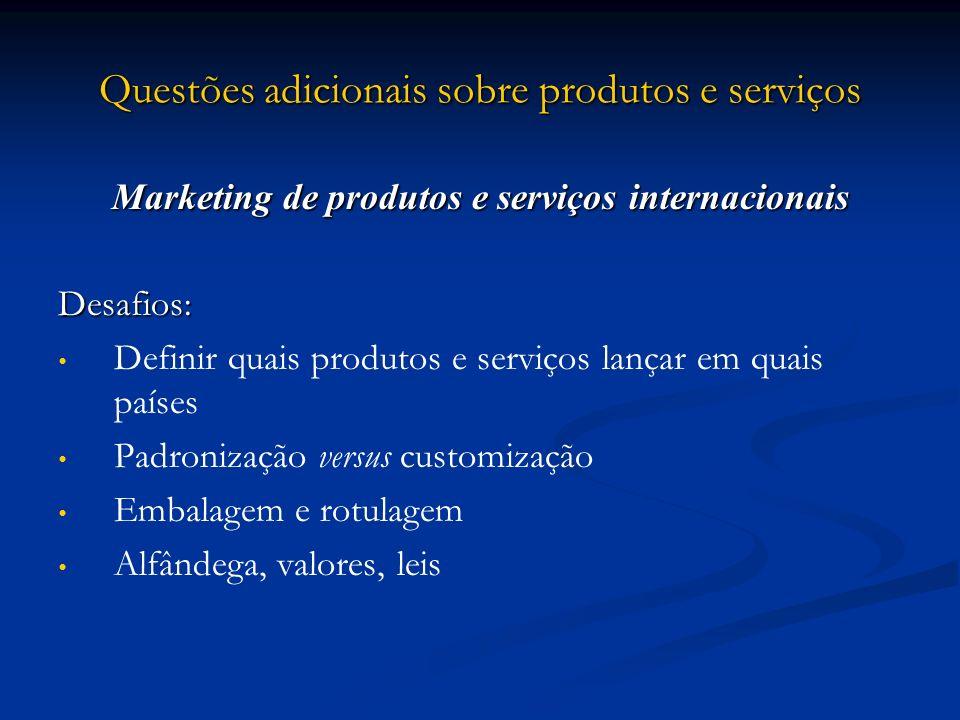 Questões adicionais sobre produtos e serviços