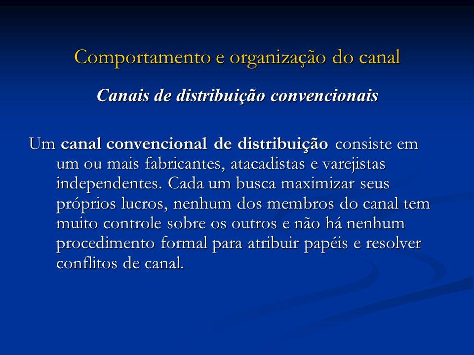 Comportamento e organização do canal