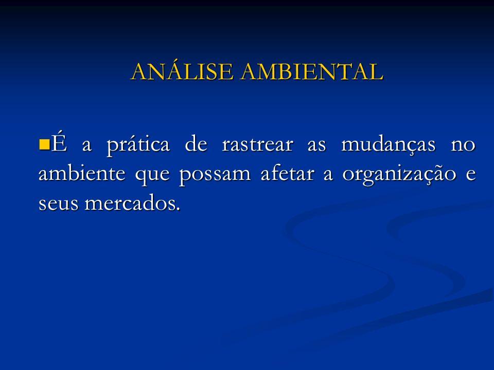 ANÁLISE AMBIENTAL É a prática de rastrear as mudanças no ambiente que possam afetar a organização e seus mercados.