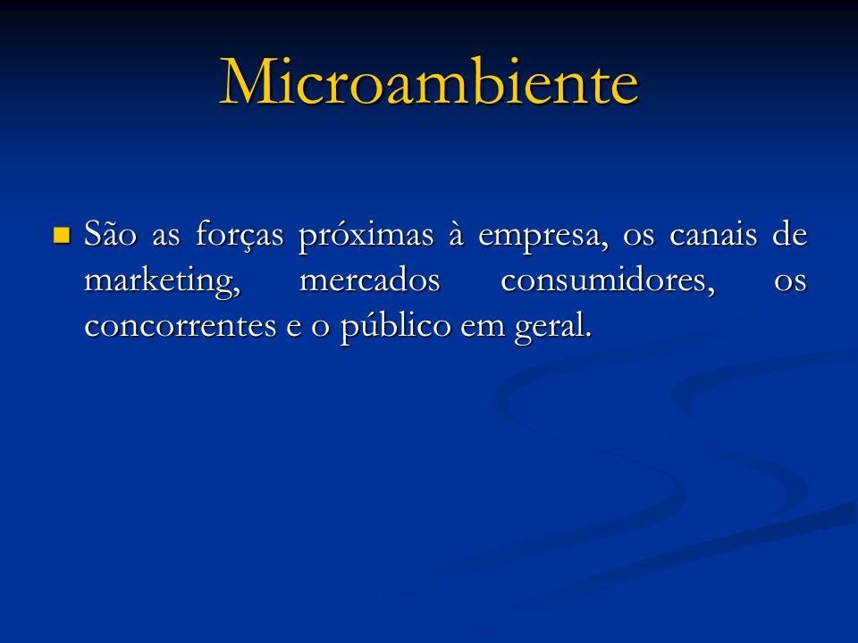 Microambiente São as forças próximas à empresa, os canais de marketing, mercados consumidores, os concorrentes e o público em geral.
