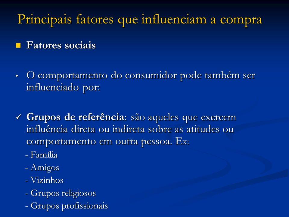 Principais fatores que influenciam a compra