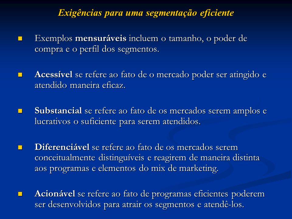 Exigências para uma segmentação eficiente