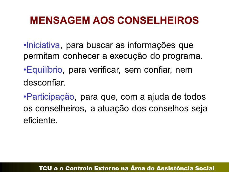 MENSAGEM AOS CONSELHEIROS