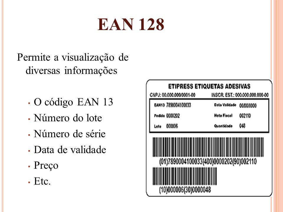 EAN 128 Permite a visualização de diversas informações O código EAN 13