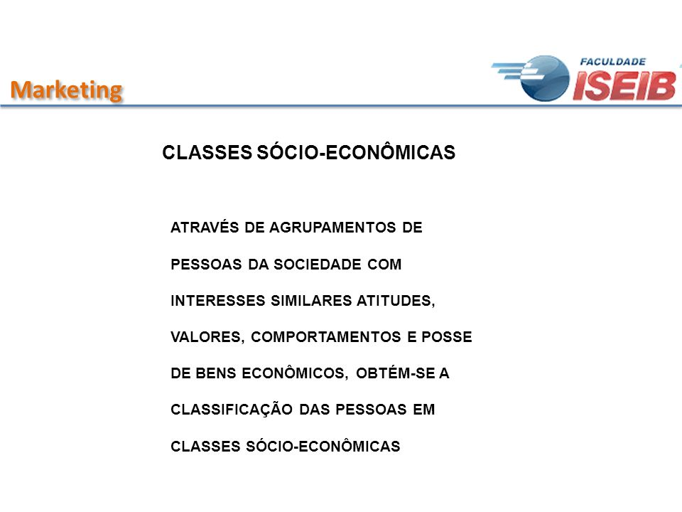 Marketing CLASSES SÓCIO-ECONÔMICAS