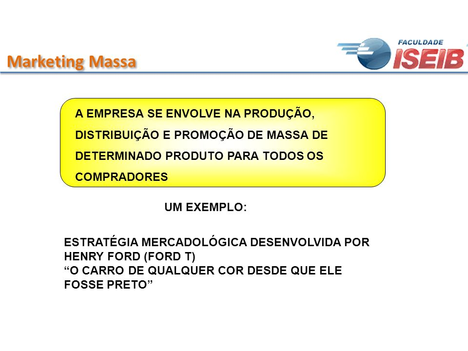 Marketing Massa A EMPRESA SE ENVOLVE NA PRODUÇÃO, DISTRIBUIÇÃO E PROMOÇÃO DE MASSA DE DETERMINADO PRODUTO PARA TODOS OS COMPRADORES.