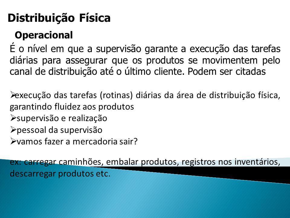 - EXECUÇÃO DAS TAREFAS (ROTINAS) DIÁRIAS DAÁREA DE DISTRIBUIÇÃO FÍSICA, GARANTINDOÁREA DE DISTRIBUIÇÃO FÍSICA, GARANTINDOFLUIDEZ AOS PRODUTOSFLUIDEZ AOS PRODUTOS- SUPERVISÃO E REALIZAÇÃO- SUPERVISÃO E REALIZAÇÃO- PESSOAL DA SUPERVISÃO- PESSOAL DA SUPERVISÃO- VAMOS FAZER A MERCADORIA SAIR - VAMOS FAZER A MERCADORIA SAIR - EX: CARREGAR CAMINHÕES, EMBALAR- EX: CARREGAR CAMINHÕES, EMBALARPRODUTOS, REGISTROS NOS INVENTÁRIOS,PRODUTOS, REGISTROS NOS INVENTÁRIOS,DESCARREGAR PRODUTOS ETC. .DESCARREGAR PRODUTOS ETC. .