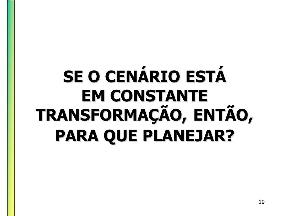 SE O CENÁRIO ESTÁ EM CONSTANTE TRANSFORMAÇÃO, ENTÃO, PARA QUE PLANEJAR