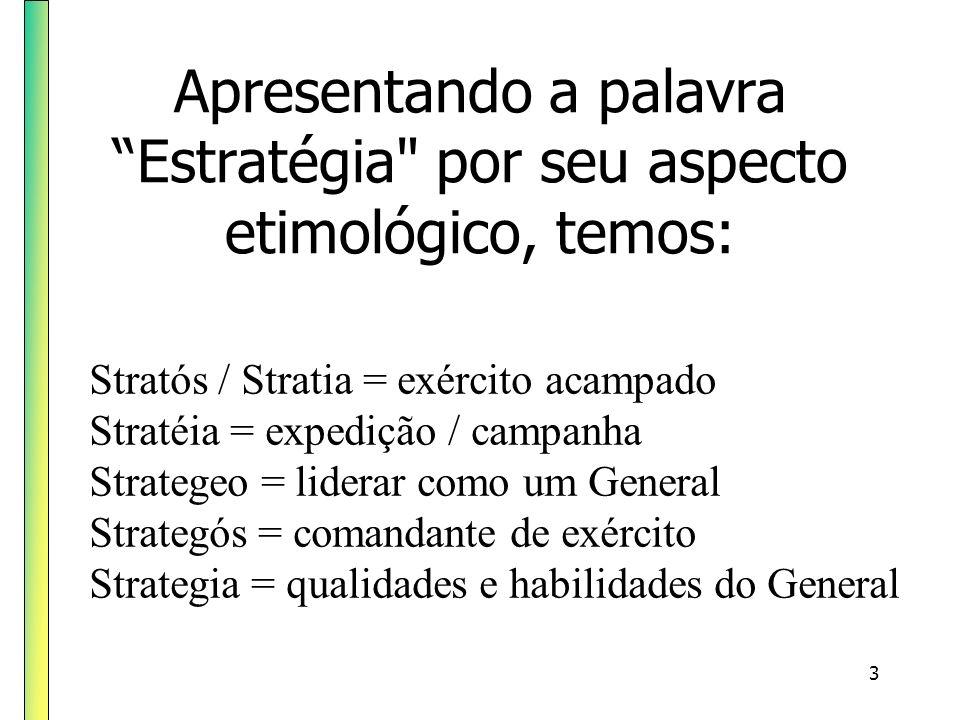 Apresentando a palavra Estratégia por seu aspecto etimológico, temos: