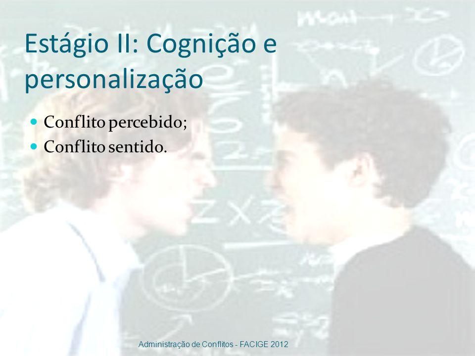 Estágio II: Cognição e personalização