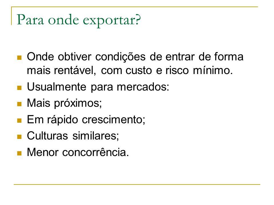 Para onde exportar Onde obtiver condições de entrar de forma mais rentável, com custo e risco mínimo.