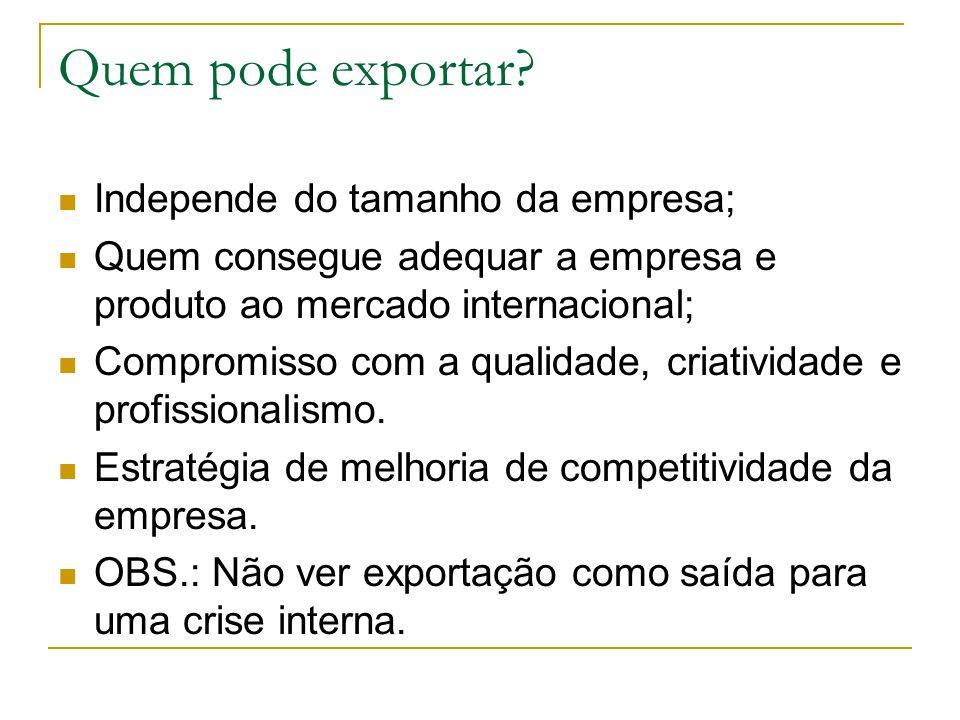 Quem pode exportar Independe do tamanho da empresa;