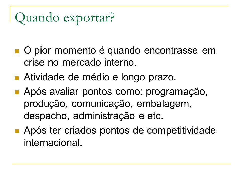 Quando exportar O pior momento é quando encontrasse em crise no mercado interno. Atividade de médio e longo prazo.