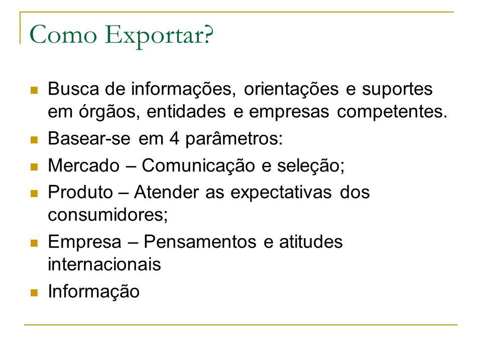 Como Exportar Busca de informações, orientações e suportes em órgãos, entidades e empresas competentes.