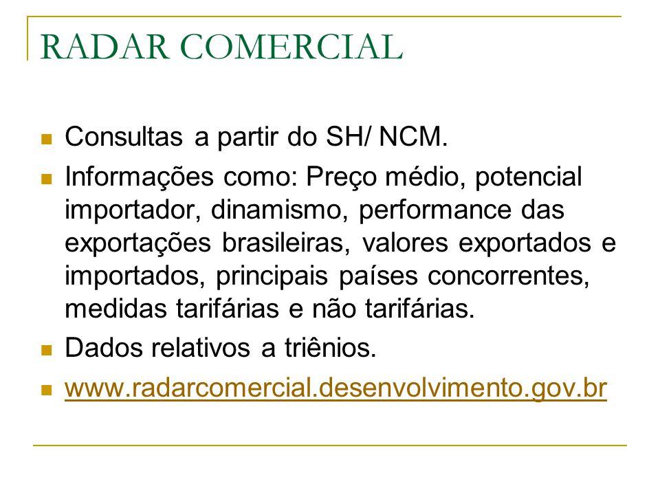 RADAR COMERCIAL Consultas a partir do SH/ NCM.